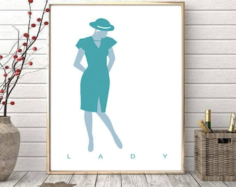 Lady. Fashion Illustration Printable Art. Silhouette in pastel green.