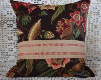 "Pillow Cover 18""x18"" Brown Blue Rose Taupe Green Floral Red Jute Webbing Trim"