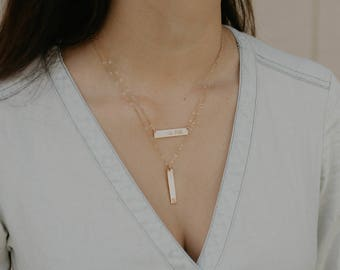 Personalized Vertical Bar Necklace. Gold Layering Bar, Initial Necklace, Name Necklace, Mother's Necklace. Gold Bar, Silver Bar, Rose Gold.