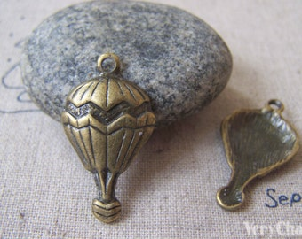 10 pcs of Antique Bronze Lovely Hot Air Balloon Charms 16x30mm A4274