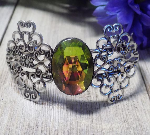 Victorian style filigree antique silver tone bracelet with Czech Glass Faceted Cabochon