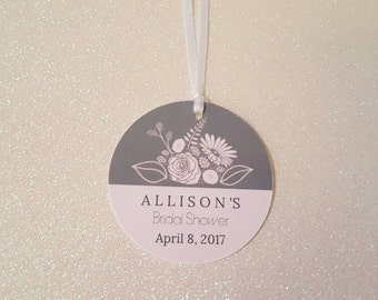 FLORAL Bridal Shower Favor Tags * Wedding Shower Gift Tags *Baby Shower Floral Tags *Pink & Gray Floral Tags *PERSONALIZED