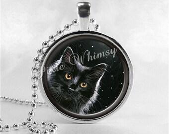 BLACK CAT Necklace, Cat Pendant, Cat Jewelry, Cat Charm, Glass Photo Art Necklace Pendant, Black Cat Jewelry, Black Cat Pendant