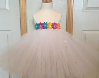 NEW!! Birthday Tutu/Flower Girl Tutu/White Tutu With Multi Colored Flowers/Flower Girl Tutu With Swarovski Crystals