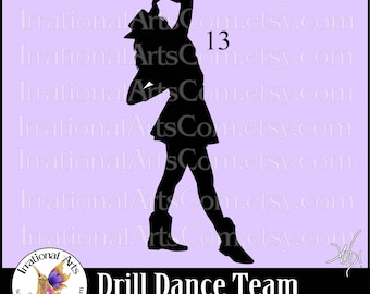 Drill Dance Team Silhouettes Pose 13 - 1 EPS & SVG Vinyl Ready files and 1 PNG digital file and commercial license [Instant Download]