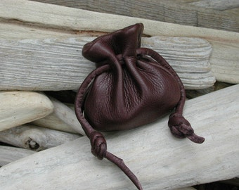 Leather Pouch Bag - Brown Bag -  Sack bag - Handmade in the USA