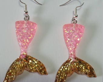 Pink and Gold glitter mermaid tail earrings