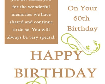 Friend 60 Birthday Card with removable laminate