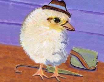 """Working Chick, 5 x 5"""" blank card, to express friendship, congratulate on a new job, or anything else"""