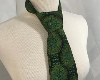Vintage Gimbles Necktie Wide Green and Espresso Brown Geometric Print Rose de Lens The Rose Window Woven in France Regal Ties