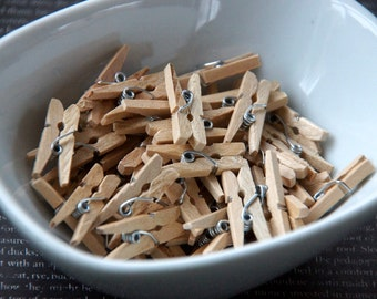50 Natural Wood Mini Clothespins
