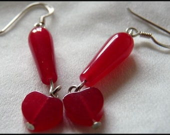 Cherry Red Jade Hearts and Sterling Silver Earrings