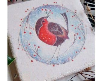 Christmas Robin stone coaster