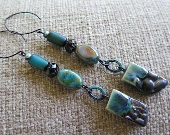 long teal earrings, rustic teal earrings, very very long earrings, porcelain earrings, earthy earrings, ocean earrings, boho earrings, gift