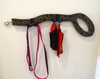 Dog Leash Holder, mosaic wall rack, towel holder, pet wall decor, entry way hooks, dog lover gift, leash and collar holder