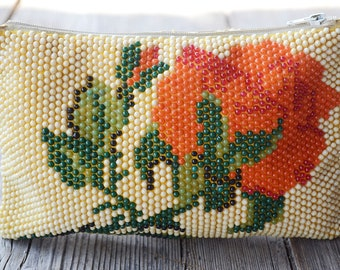 Sale! Beaded coin purse, Vintage coin purse, Soviet Beads purse, Retro big purse, Coin pouch with coloured beads, Women coin purse