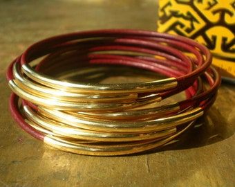 Grenada Burgundy Red Leather and Gold Bangles