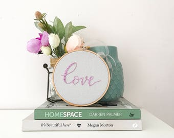 Love Embroidery Hoop Art, Love Sign, Gallery Wall, 2nd Anniversary Gift, Hand Embroidered, Romantic Gifts under 50, Festive Decor, Valentine