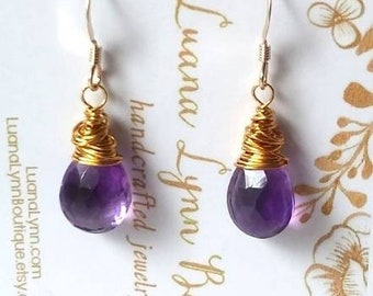 Amethyst Drop Earrings Purple Earrings Gemstone Earrings Gift For Her 14k Gold Fill Wire Handmade Drop Earring Elegant