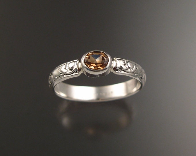 Imperial Topaz ring Sterling silver Made to order in your size Victorian floral pattern handmade ring