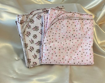 Pink and Brown Polk a Dot/Pink and Brown Flower Receiving Blanket Set