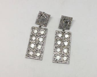 Pave white topaz  sterling silver earring