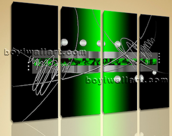 """Large 4 Pcs Modern Abstract Painting Home Room Decor Wall Art Print Canvas Green, Abstract picture,  size print, 51""""x36"""""""