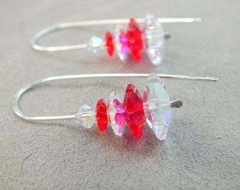 Christmas Tree Earrings.  Holiday Earrings. Swarovski Crystal Earrings.  Sterling Silver. Red Holiday Earrings.  Xmas jewelry.