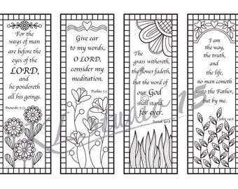 Bible Verse Coloring bookmarks, Instant Download