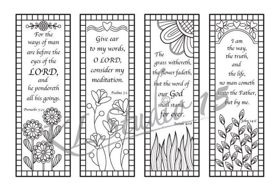 Bible Verse Coloring Bookmarks Instant Download