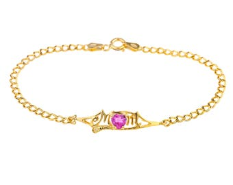 14Kt Yellow Gold Plated Pink Sapphire & Diamond Heart Mom Bracelet