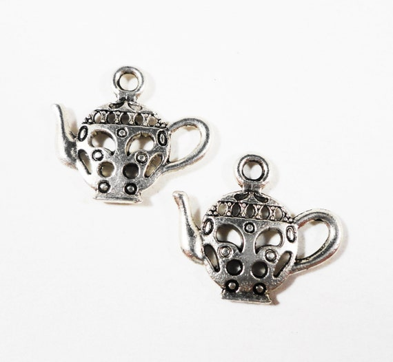 Silver Teapot Charms 17x15mm Antique Silver Metal Tea Kettle Pendants, 2 Sided Teakettle Charms, DIY Jewelry Making Craft Supplies 10pcs