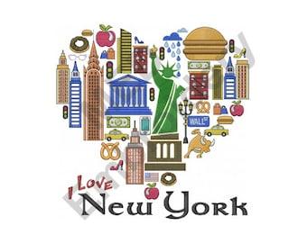 New York - Machine Embroidery Design