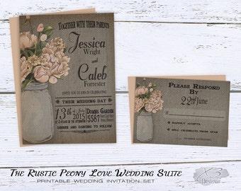 Rustic Wedding Invitation, Mason Jar Wedding Invitation, Barn Wedding, Country Wedding Invitation, Peach Peony, Burlap, DIY Printable Invite
