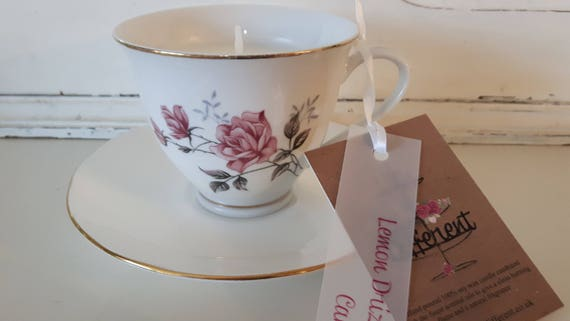Tea cup candle. Scented soy wax vegan vintage tea cup candle, with lemon drizzle cake.  Vegan candles. Organic soy. Made in Wales