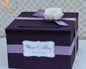 Wedding Card Box Purple Plum Dusty Purple Lavender Money Holder Customizable Card Holder Weddings