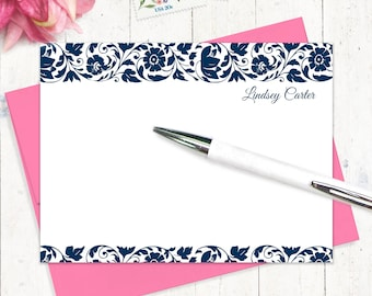 personalized stationery set - LOVELY LINDSEY - set of 12 flat note cards - women's stationary - gift set - choose ink and envelope color