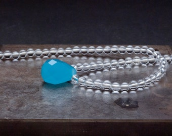 Clear Quartz Crystal and Tear Drop Blue Agate Necklace, Gemstone Delicate Bridal Necklace, Aqua Blue Necklace, Crystal Jewelry Gift for Her