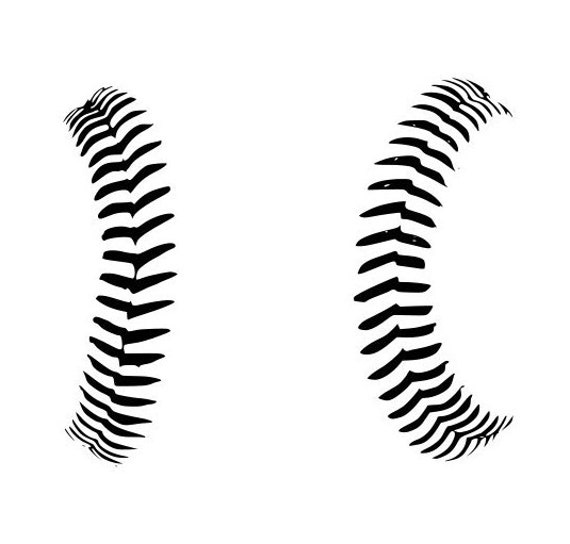 Baseball Stitches Seams Logo Outline Laptop Cup Decal Svg