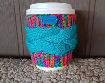 Knitted mug warmer, Coffee Mug Cozy, Coffee Cup Sleeve, Coffee Gifts, Cup Cosy, Hand Knit Coffee Cozy, Handmade, Kitchen decor, Knitted gift