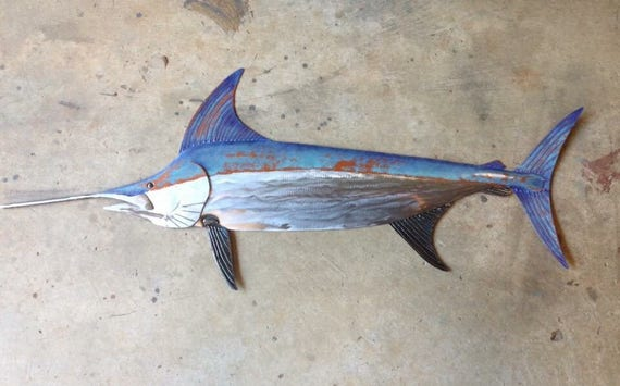 Sword Fish 48in  Metal Wall Art Fish sculpture Handmade Beach Coastal Tropical Ocean