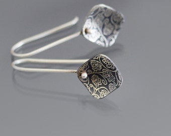 Sterling Silver Rose Garden Earrings, diamond-shaped