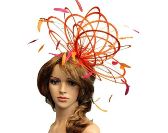 Orange and Hot Pink large Feather Fascinator Hat - Perfect for a Mother of The Bride, ladies day - choose any colour feathers and satin