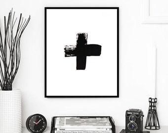 Swiss Cross, Plus Sign, Black Swiss Cross, Black White Wall Art, Swiss Cross Print, Brush Strokes, Cross Wall Prints, Digital Printable Art