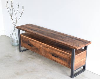 Media Console Made From Reclaimed Wood / Industrial TV Stand / Modern Media  Cabinet