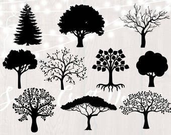 Tree silhouette svg bundle, tree clipart, dxf,png