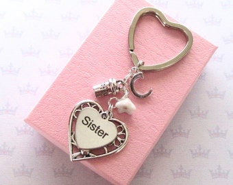 Coffee lover gift - Personalised Sister keyring - Coffee keyring - Sister birthday - Coffee addict - Sister keyring - Coffee keychain - UK