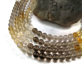 Citrine and Smoky Quartz Beads, Smooth Gemstone Rounds, 4mm Round Beads, 8 Inch Strand, Jewelry Supplies (S-Mix2)