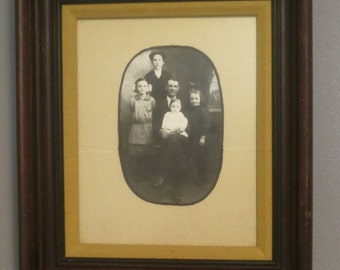Vintage 8x10 Family Portrait in Old Wood Frame Old Photo Family Gathering in Recessed Carved Wood Frame