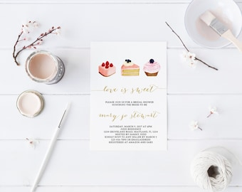 Valentines Love is Sweet Bridal Shower Invitation Hens Party Bachelorette Party Invite Printable Invitation Valentines Invitation